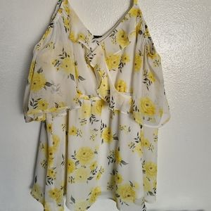 Torrid  plus size off shoulder sunflower tunic